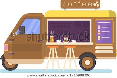 Kahve kamyon kafe sokak yaz Stok fotoğraf © robuart