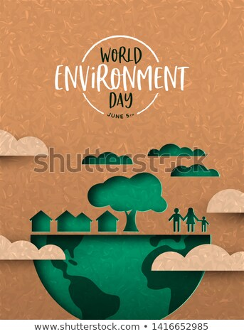 Environment Day card of green cutout eco city Stock photo © cienpies