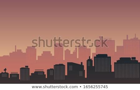 декораций пейзаж зданий Восход закат Сток-фото © robuart