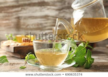 Menta tè vetro Cup tavolo in legno Foto d'archivio © Illia