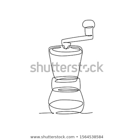 Old Manual Coffee Grinder And Cup Poster Vector Stock photo © pikepicture