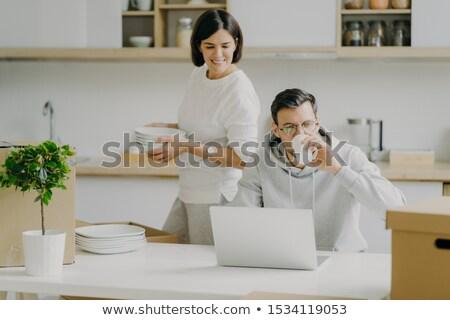 Occupato marito computer portatile bevande caffè occhiali Foto d'archivio © vkstudio