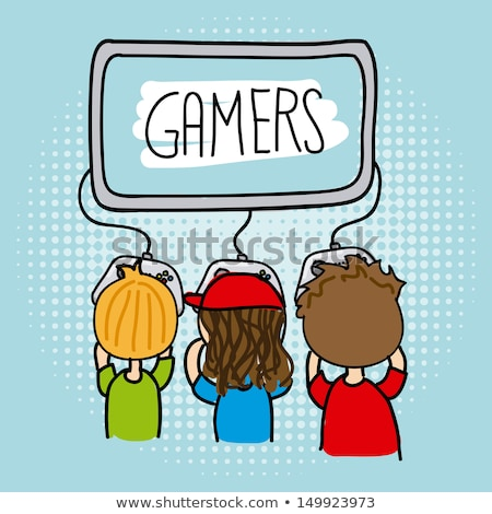 Interactieve kinderen video game vector icon dun Stockfoto © pikepicture