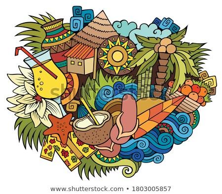 Haïti dessinés à la main cartoon illustration drôle Photo stock © balabolka