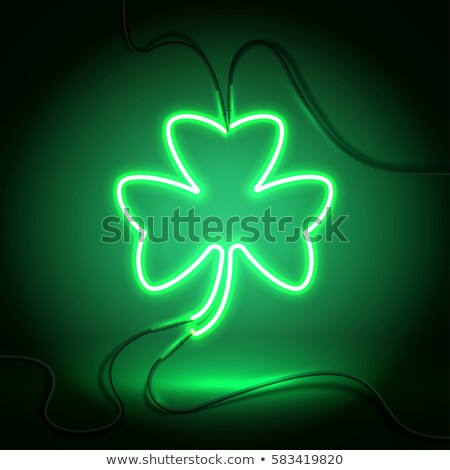 glowing clover neon green leaves st patricks background Stock photo © SArts