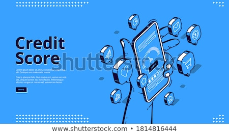 Hand holds the smartphone with financial application on screen. Flat vector modern phone mock-up ill Stock photo © karetniy
