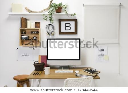Home workspace with computer and headphones Stock photo © karandaev