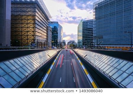 Bruxelas linha do horizonte cor edifícios blue sky Foto stock © ShustrikS