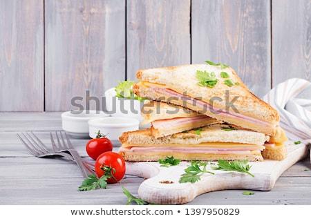 クラブサンドイッチ ハム チーズ サラダ 野菜 ファストフード ストックフォト © karandaev