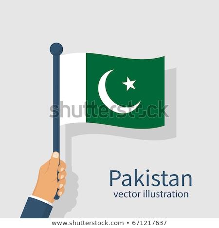 Pakistan bayrak el beyaz kalp imzalamak Stok fotoğraf © butenkow