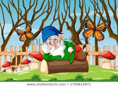 гном древесины саду иллюстрация дерево Сток-фото © bluering