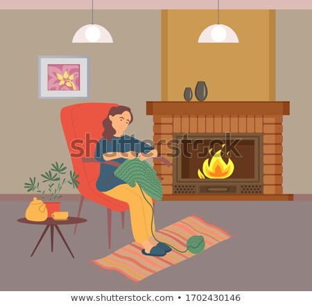Woman Needlecraft, Knitting near Fireplace Vector Stock photo © robuart