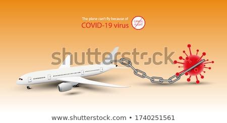 Travel vacation and flight canceled because of coronavirus travel ban. Corona virus crisis in airlin Stock photo © Maridav