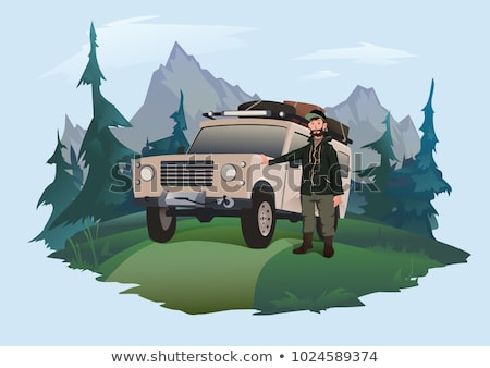 man with offroad car in field stock photo © paha_l