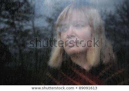 Mooie blonde vrouw glas water venster Geel Stockfoto © pekour