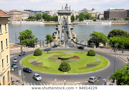 Traffic circle and chain bridge in Budapest, Hungary stock photo © vladacanon