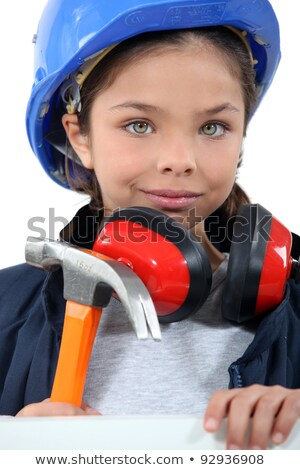Child with a hammer, hardhat and ear defenders Stock photo © photography33