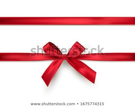 Piros szatén szalag közelkép fehér ajándék Stock fotó © marylooo