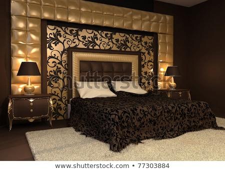 枕 · ボタン · 戻る · ベッド · 豪華な · ベッド - ストックフォト © victoria_andreas