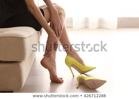 feminino · pernas · brilhante · amarelo · sapatos · branco - foto stock © pzaxe