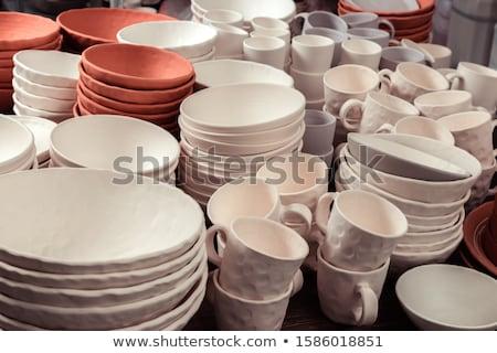 öreg · piros · váza · agyag · izolált · fehér - stock fotó © witthaya