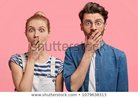 Para patrząc zdziwiony twarz człowiek usta Zdjęcia stock © photography33