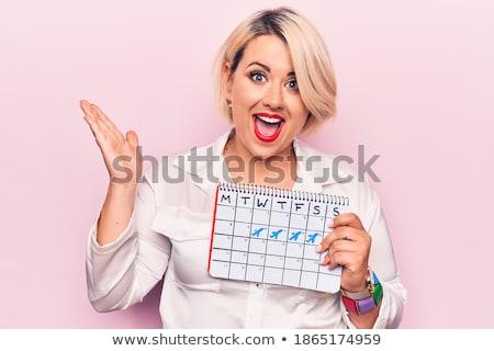 sérieux · femme · blonde · pointant · doigt · blanche · mode - photo stock © acidgrey
