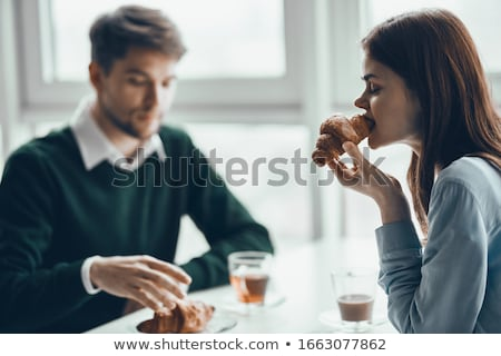 young couple having breakfast outdoors stock photo © photography33