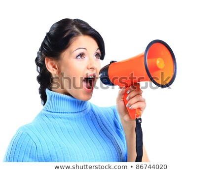 Blond woman speaking into megaphone Stock photo © photography33