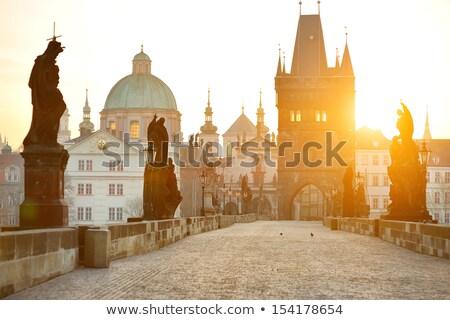 статуя известный моста Прага мнение Чешская республика Сток-фото © frank11
