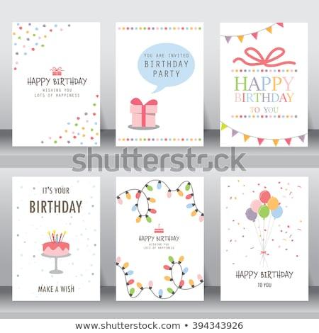 Boldog születésnapot kártya plüssmaci virág baba buli Stock fotó © balasoiu