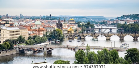 Puente peatonal río República Checa agua madera forestales Foto stock © CaptureLight