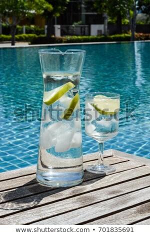 Sürahi su havuz cam fincan soğuk Stok fotoğraf © epstock