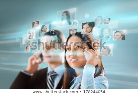 Young positive business man touching virtual button. Editable im Stock photo © HASLOO