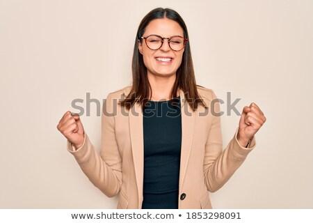 молодые брюнетка деловая женщина очки Scream оружия Сток-фото © sebastiangauert