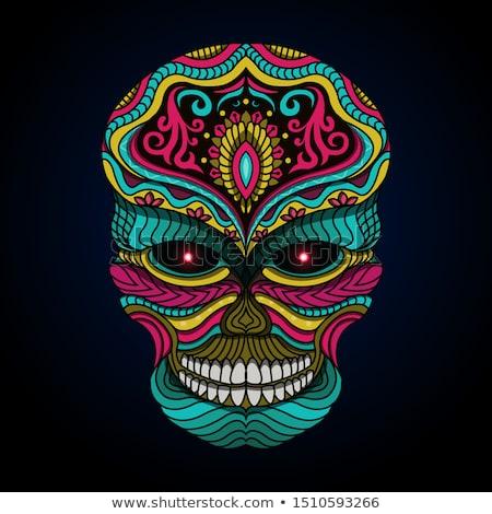 стилизованный человека череп черный змей музыку Сток-фото © oblachko