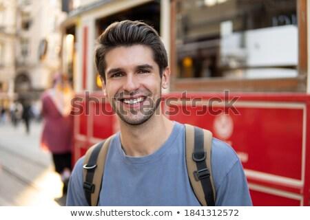 Fiatal jóképű férfi város Törökország Isztambul égbolt Stock fotó © Nejron