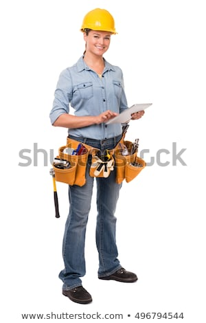 female construction worker isolated on white stock photo © elnur