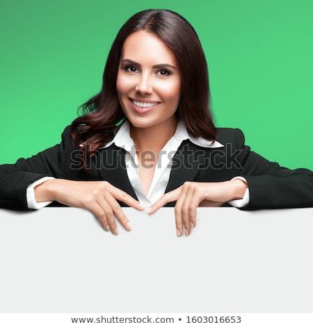 Zakenvrouw tonen lege kaart business kantoor advertentie Stockfoto © dolgachov