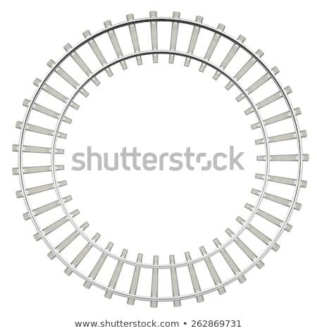 ストックフォト: サークル · 鉄道 · 孤立した · 白 · 先頭 · 表示