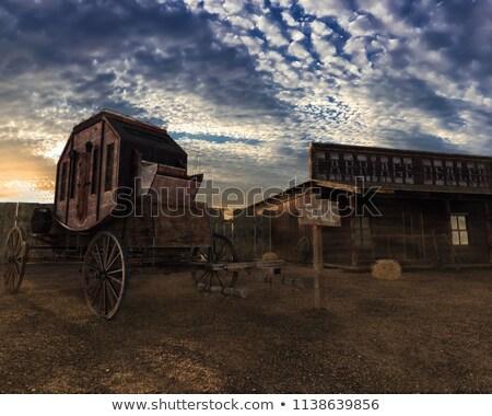Fuvar western naplemente illusztráció természet lovak Stock fotó © adrenalina
