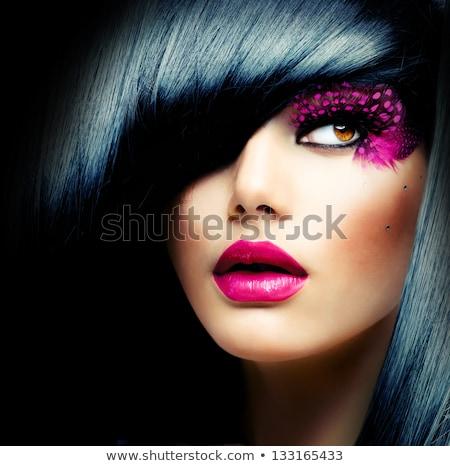 Brunetka piękna różowy Pióro sztuczne rzęsy pełny Zdjęcia stock © lubavnel