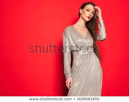 Divat portré vörös haj szexi nő stúdiófelvétel fiatal Stock fotó © fanfo