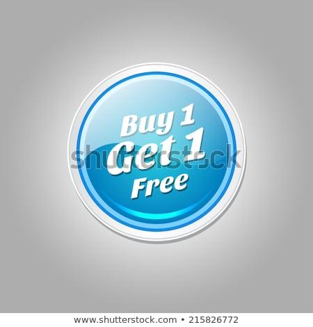 Buy 1 Get 1 Free Glossy Shiny Circular Vector Button Stock photo © rizwanali3d