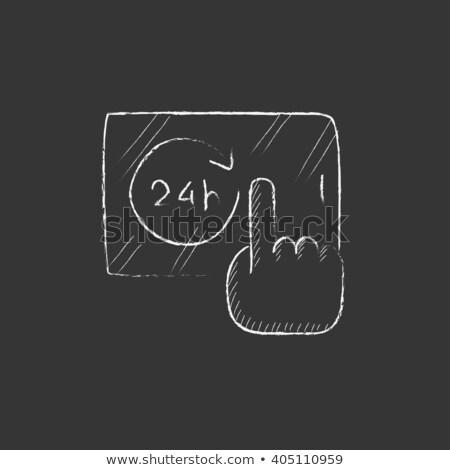 Körül óra ikon rajzolt kréta óramutató Stock fotó © RAStudio