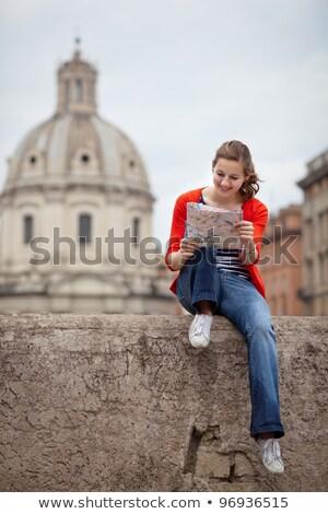 かなり · 小さな · 女性 · 観光 · 勉強 · 地図 - ストックフォト © lightpoet