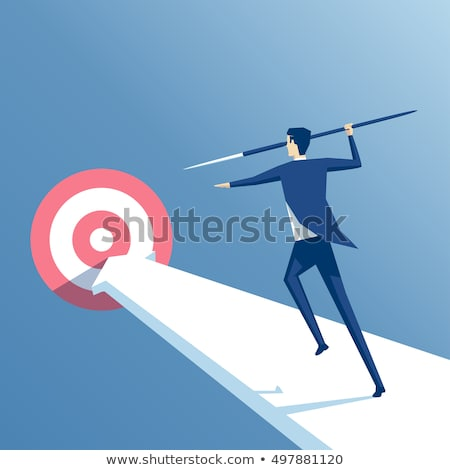 Businessman throwing spear to darts Stock photo © cherezoff