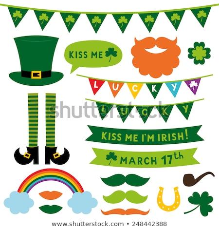 día · de · san · patricio · iconos · irlandés · bandera · trébol · verde - foto stock © sahua