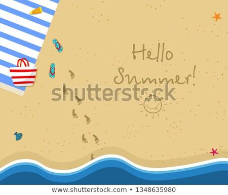 Sol playa de arena agua instagram retro Foto stock © neirfy