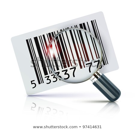 Magnifying glass and barcode line icon. Stock photo © RAStudio